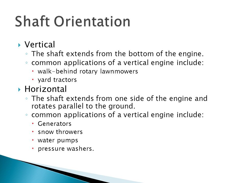 Shaft Orientation Vertical Horizontal
