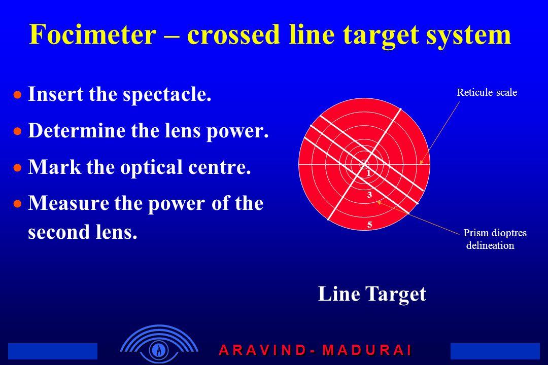 Focimeter – crossed line target system