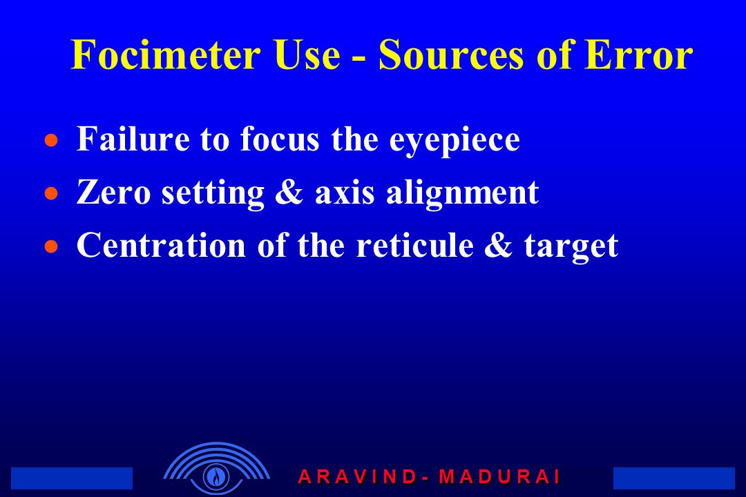 Focimeter Use - Sources of Error