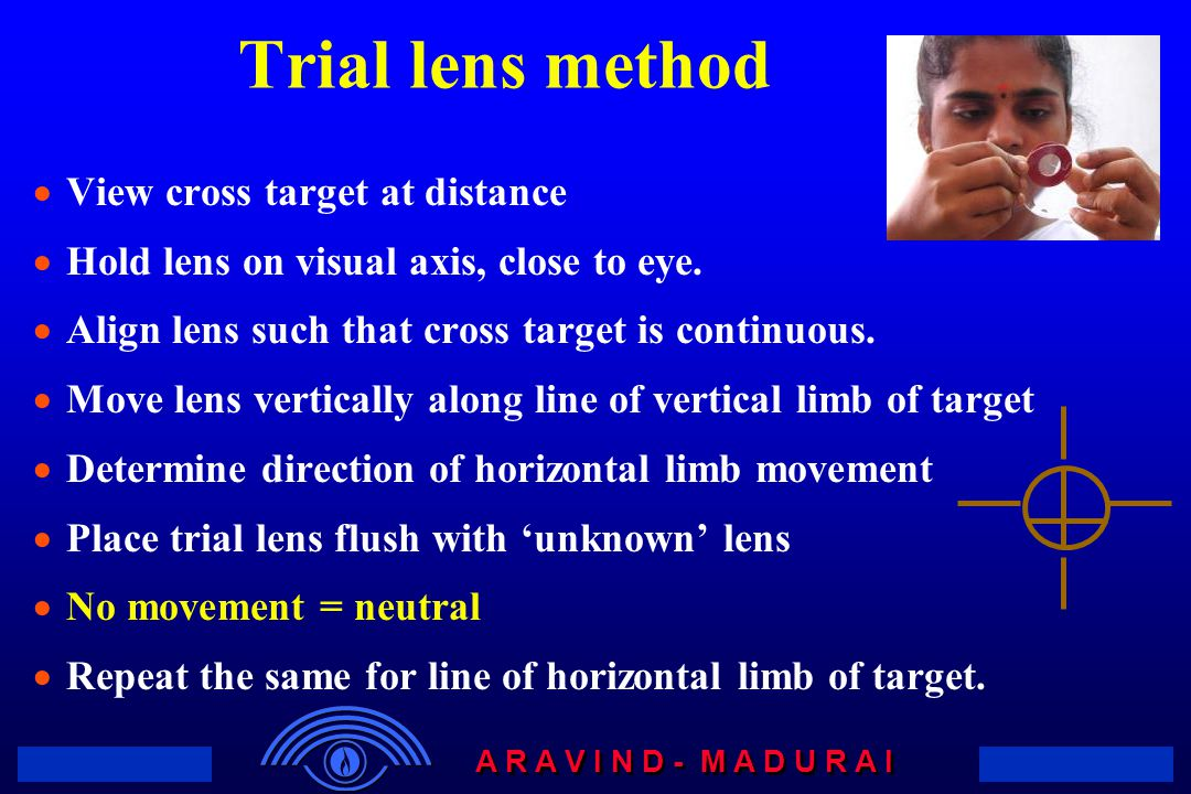 Trial lens method View cross target at distance