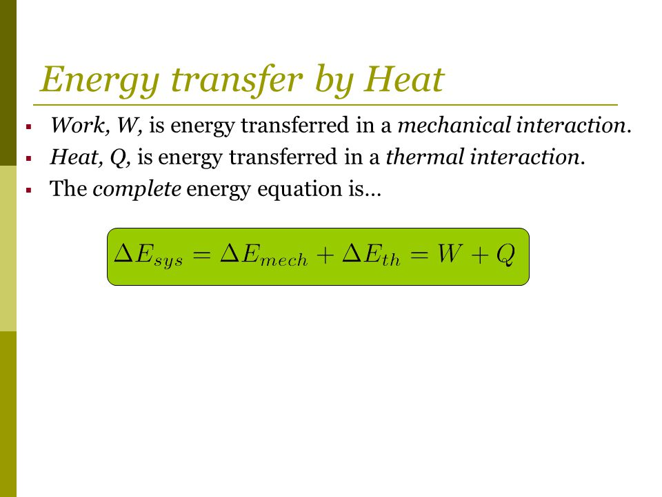 Energy transfer by Heat