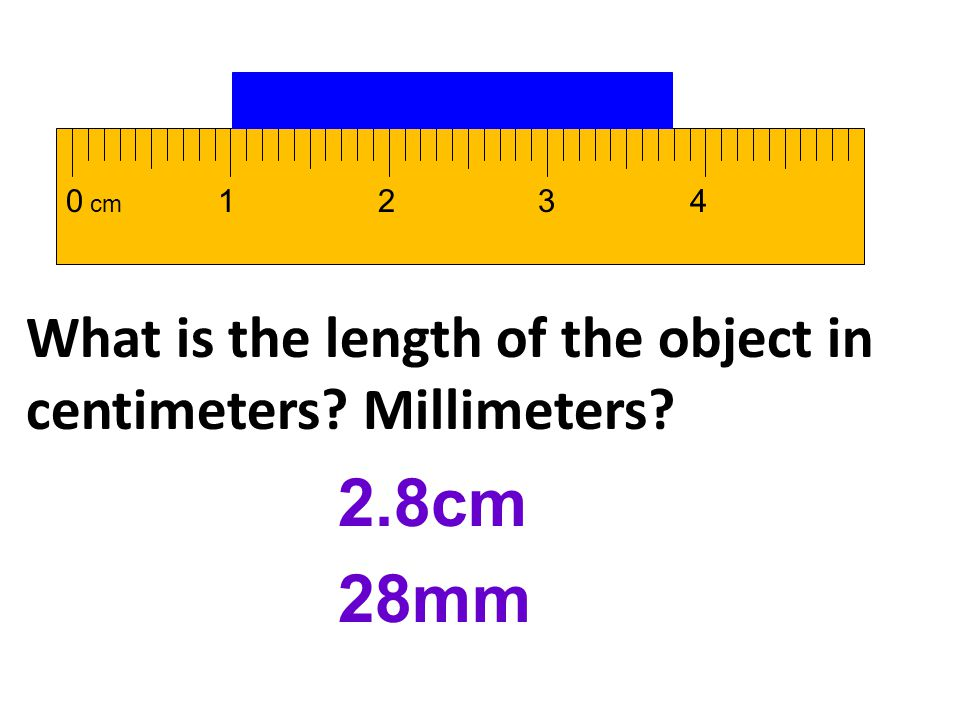 1 2 3 4 cm What is the length of the object in centimeters Millimeters 2.8cm 28mm