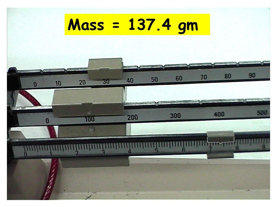 Mass = 137.4 gm