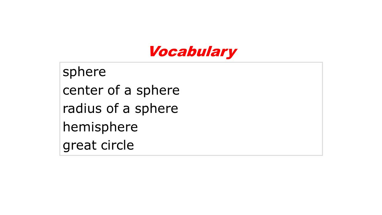 Vocabulary sphere center of a sphere radius of a sphere hemisphere