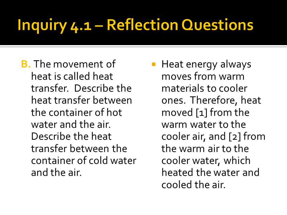 Inquiry 4.1 – Reflection Questions