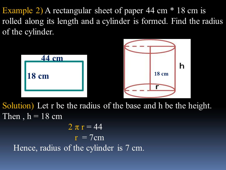 Hence, radius of the cylinder is 7 cm. 44 cm