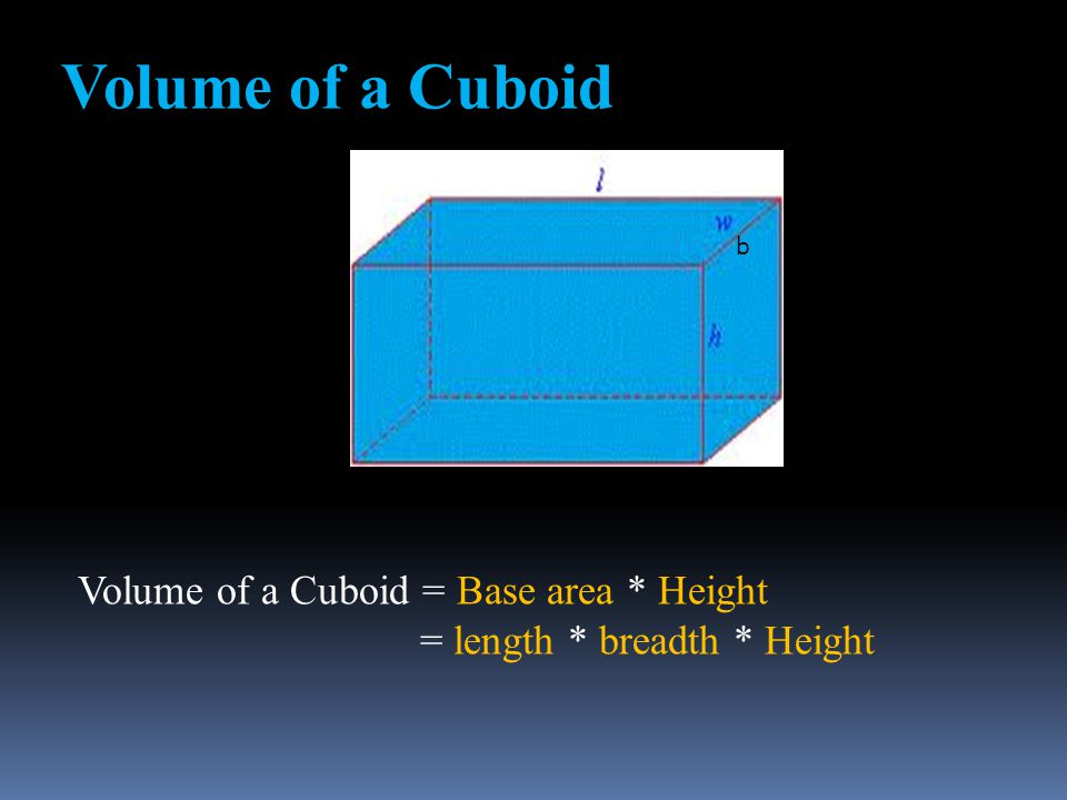 Volume of a Cuboid Volume of a Cuboid = Base area * Height