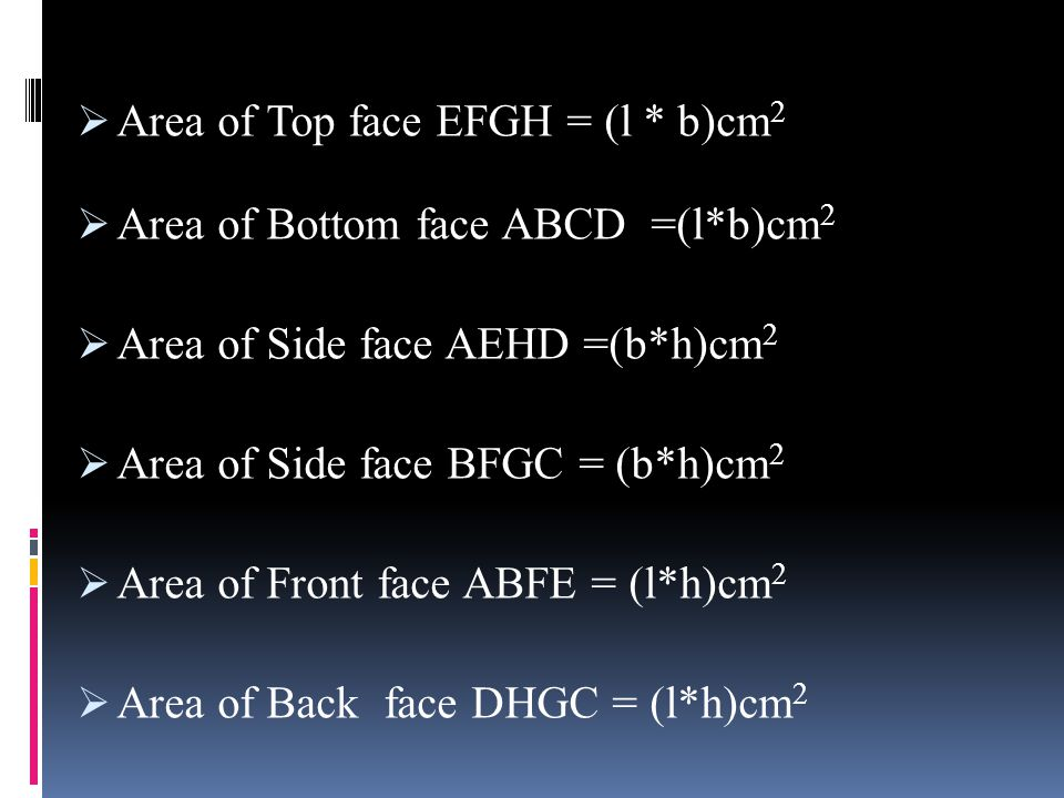 Area of Top face EFGH = (l * b)cm2