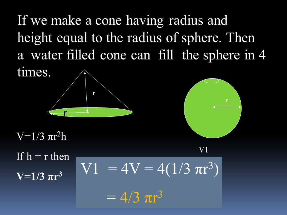 If we make a cone having radius and height equal to the radius of sphere. Then a water filled cone can fill the sphere in 4 times.