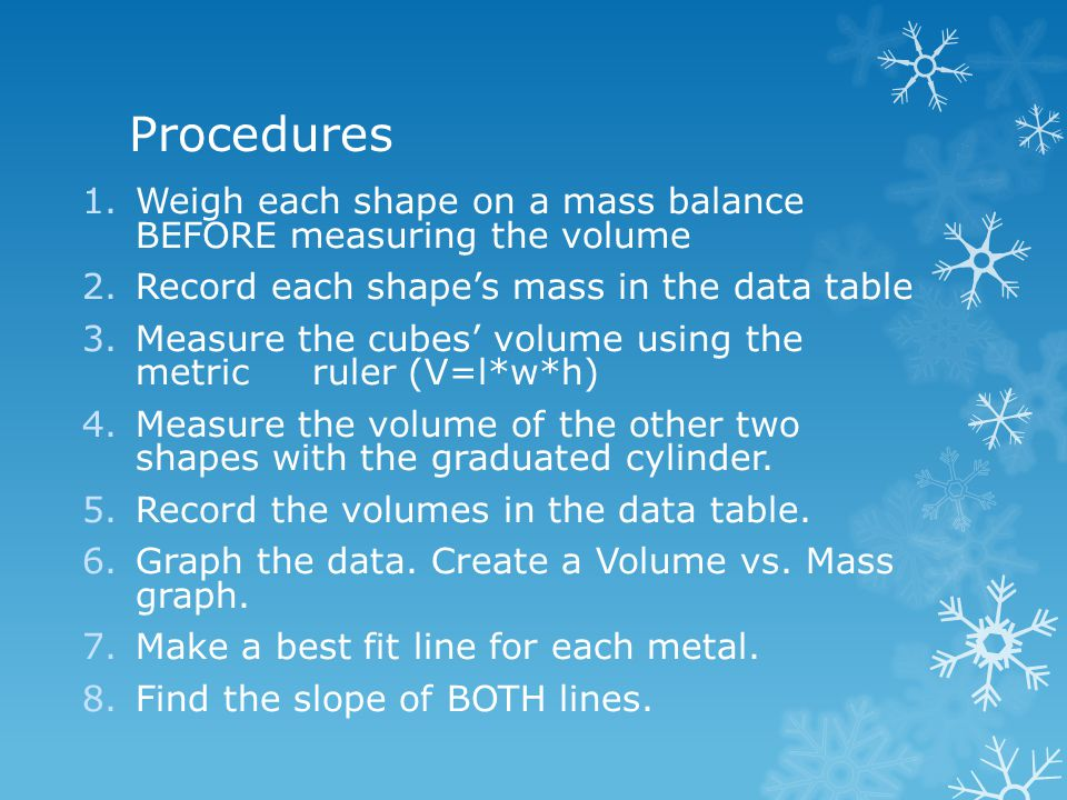 Procedures Weigh each shape on a mass balance BEFORE measuring the volume. Record each shape's mass in the data table.