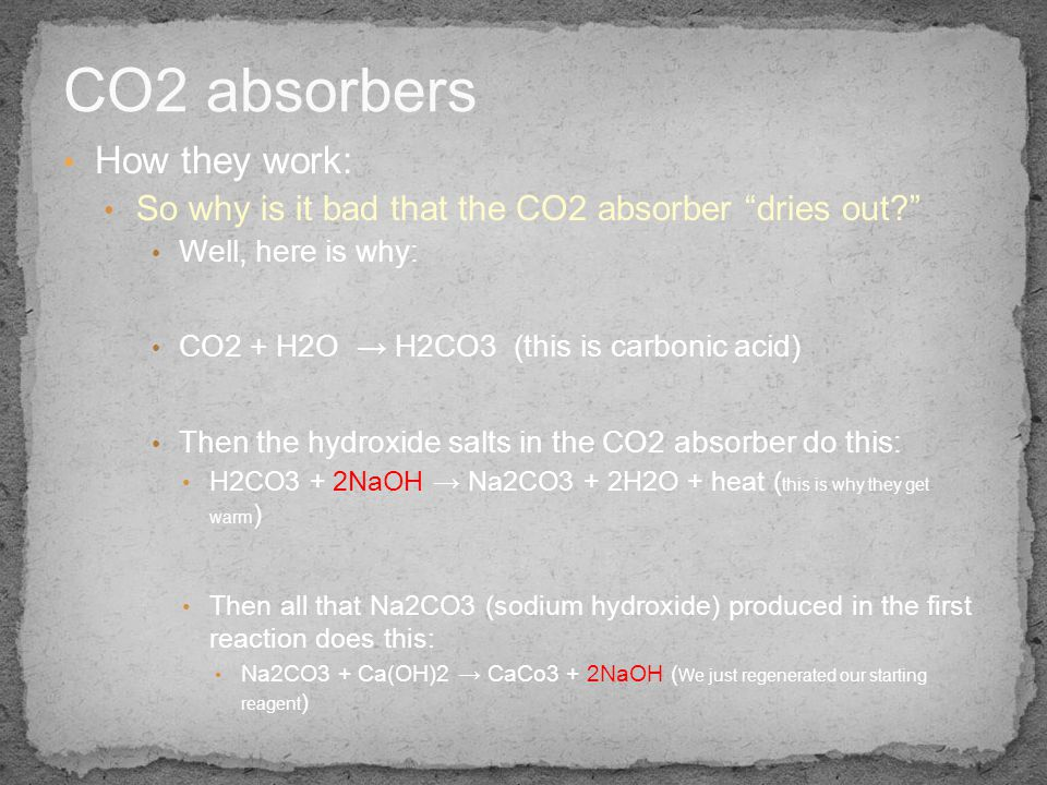 CO2 absorbers How they work:
