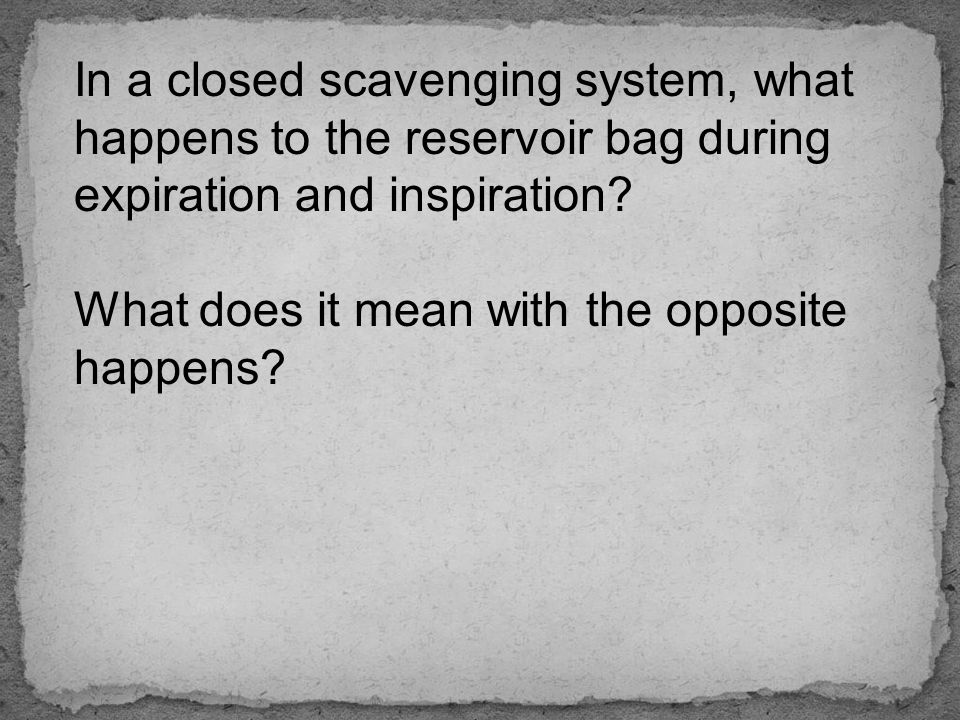 In a closed scavenging system, what happens to the reservoir bag during expiration and inspiration