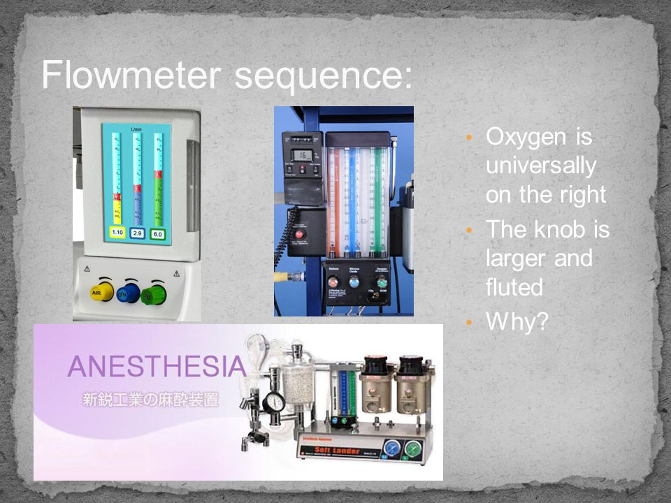 Flowmeter sequence: Oxygen is universally on the right