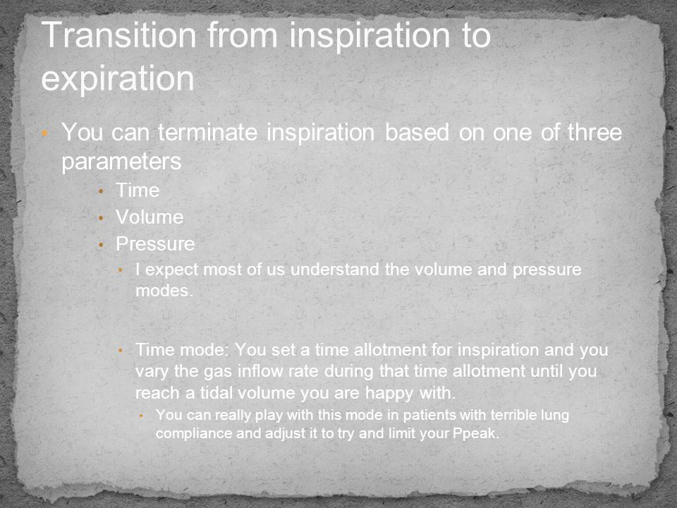 Transition from inspiration to expiration