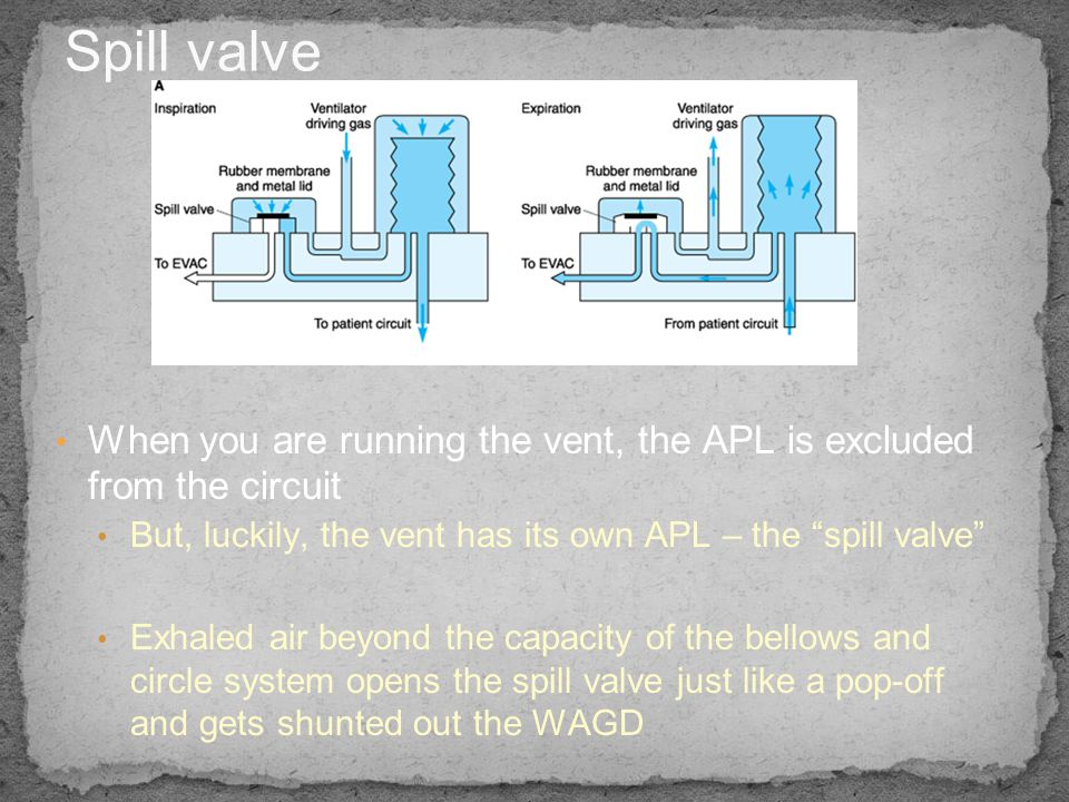 Spill valve When you are running the vent, the APL is excluded from the circuit. But, luckily, the vent has its own APL – the spill valve