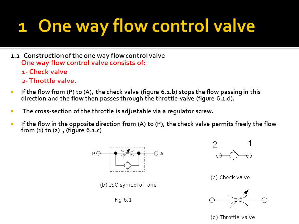 1 One way flow control valve