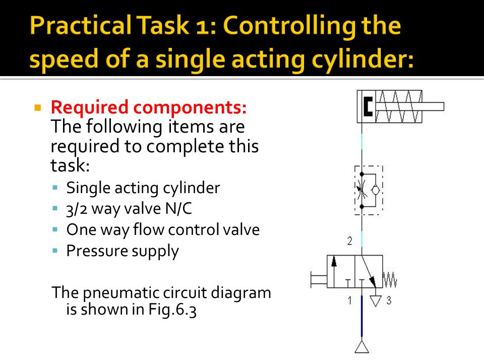 Practical Task 1: Controlling the speed of a single acting cylinder:
