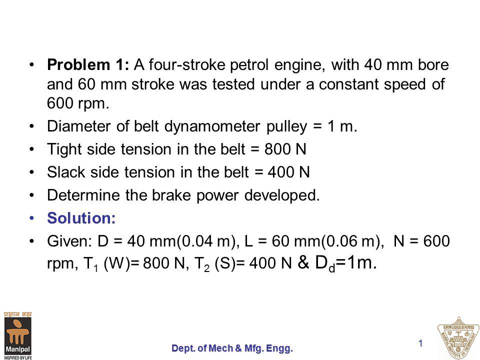Diameter of belt dynamometer pulley = 1 m.