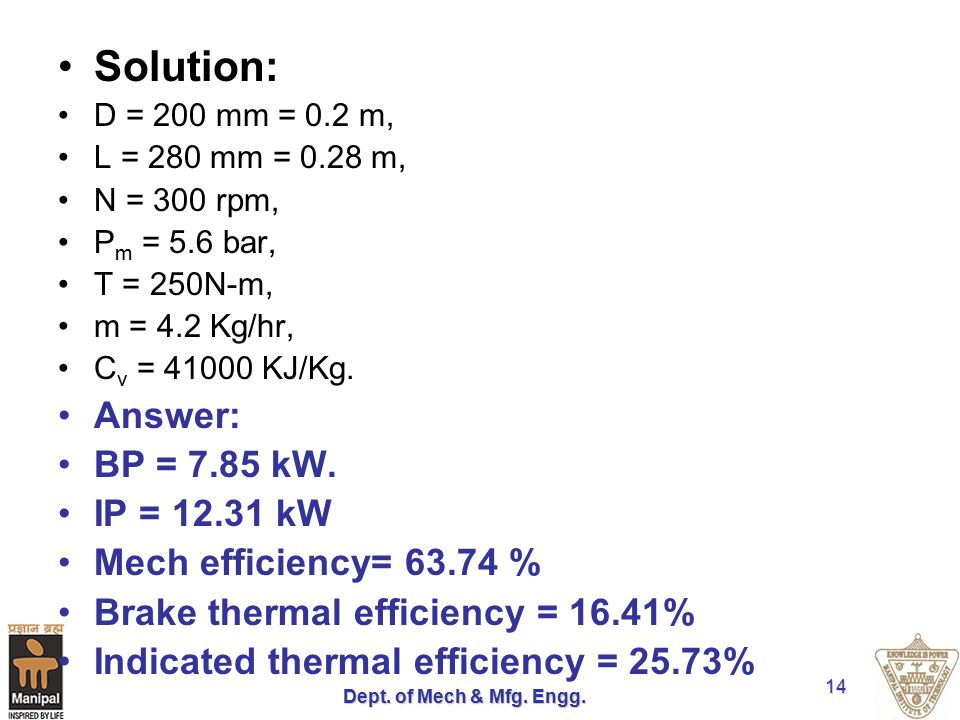 Solution: Answer: BP = 7.85 kW. IP = 12.31 kW Mech efficiency= 63.74 %