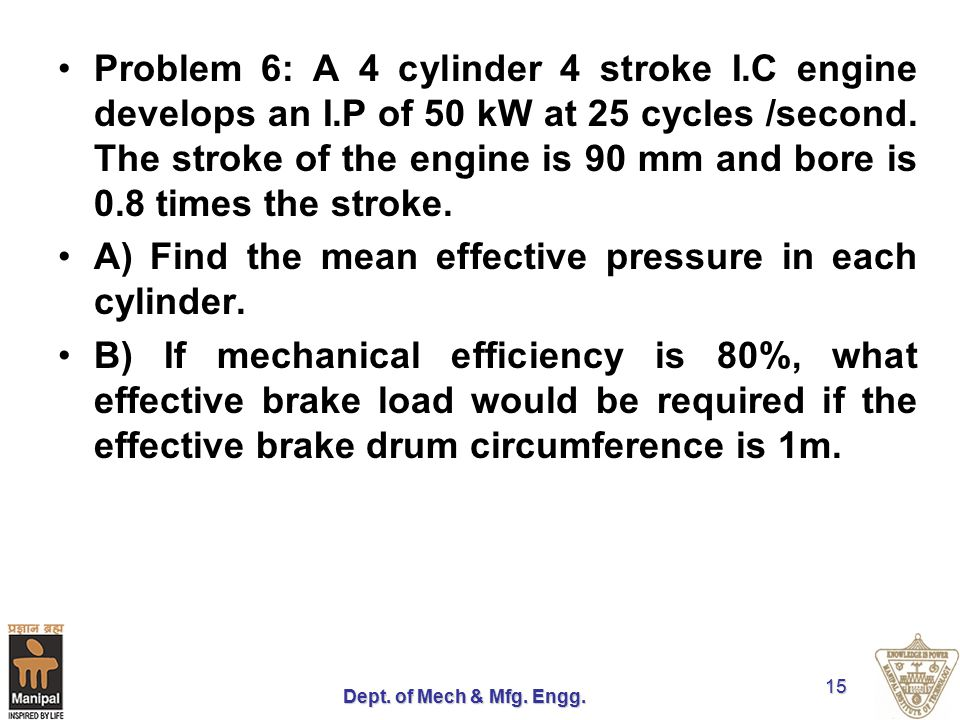 A) Find the mean effective pressure in each cylinder.