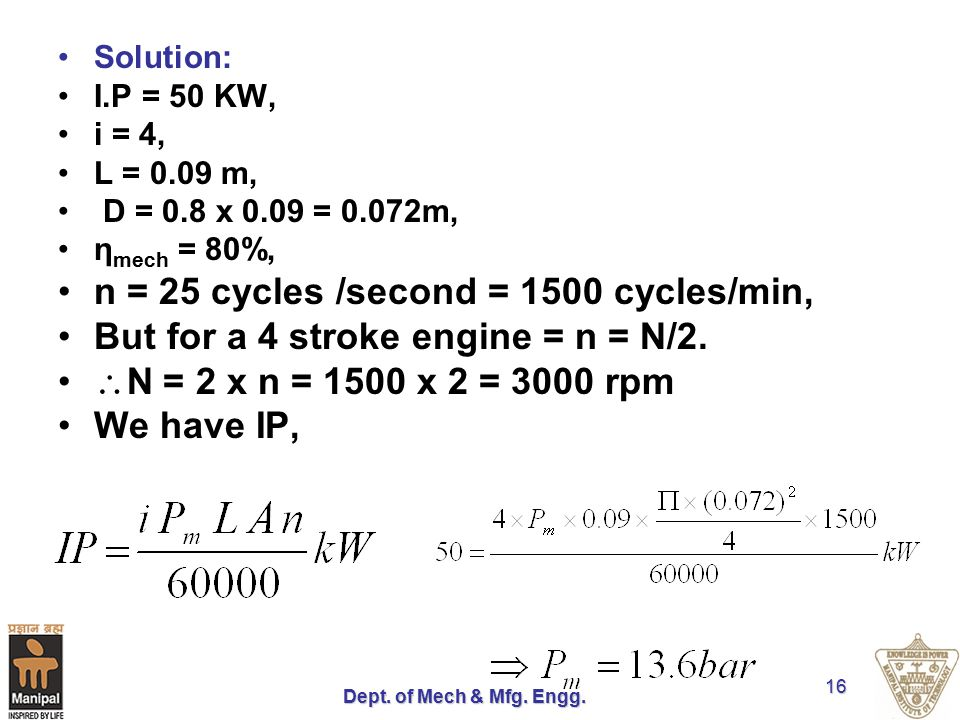 n = 25 cycles /second = 1500 cycles/min,