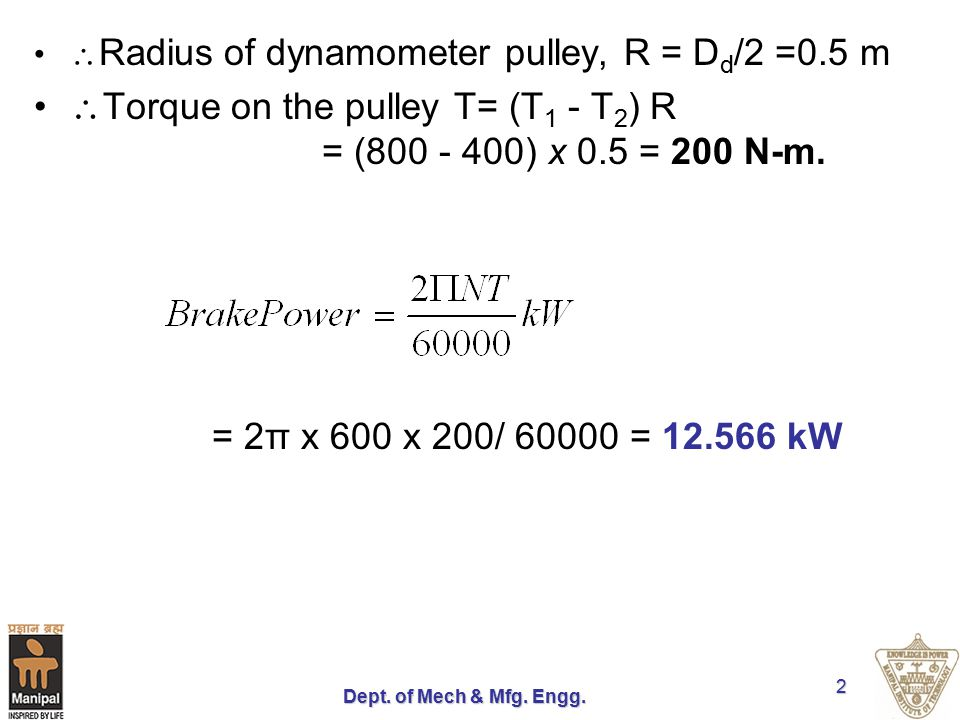 Torque on the pulley T= (T1 - T2) R = (800 - 400) x 0.5 = 200 N-m.