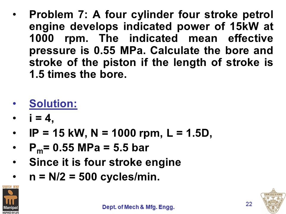 Since it is four stroke engine n = N/2 = 500 cycles/min.