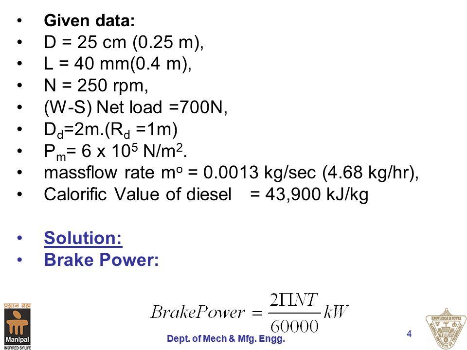 massflow rate mo = 0.0013 kg/sec (4.68 kg/hr),