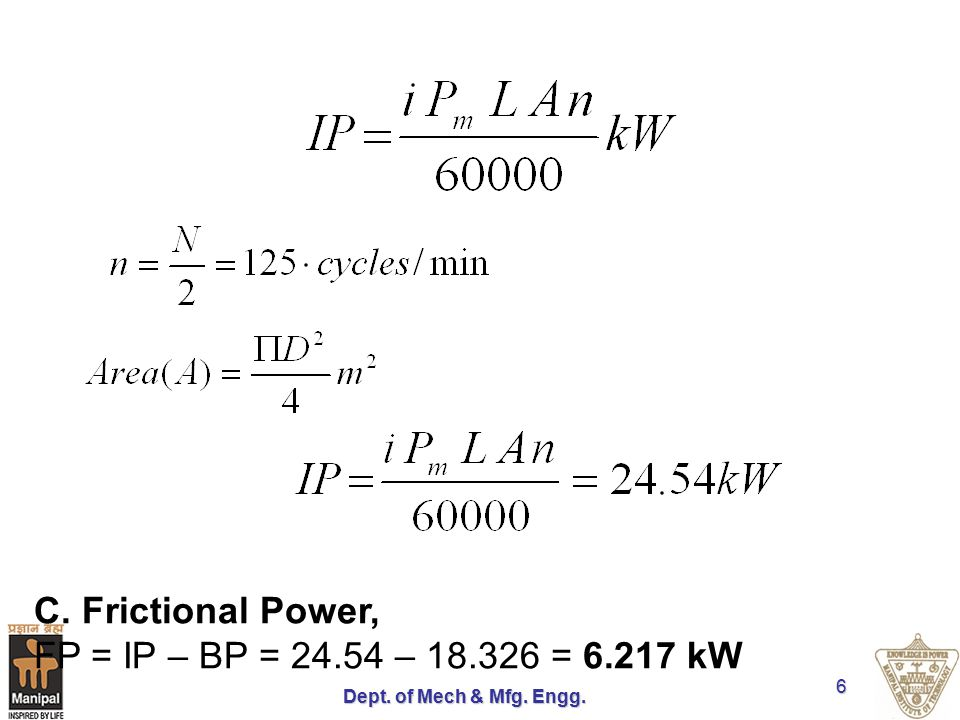 C. Frictional Power, FP = IP – BP = 24.54 – 18.326 = 6.217 kW