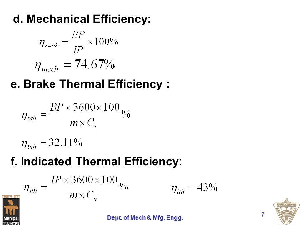 d. Mechanical Efficiency: