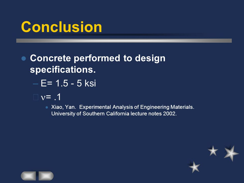 Conclusion Concrete performed to design specifications. E= 1.5 - 5 ksi