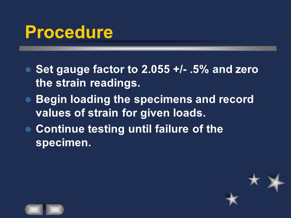 Procedure Set gauge factor to 2.055 +/- .5% and zero the strain readings. Begin loading the specimens and record values of strain for given loads.