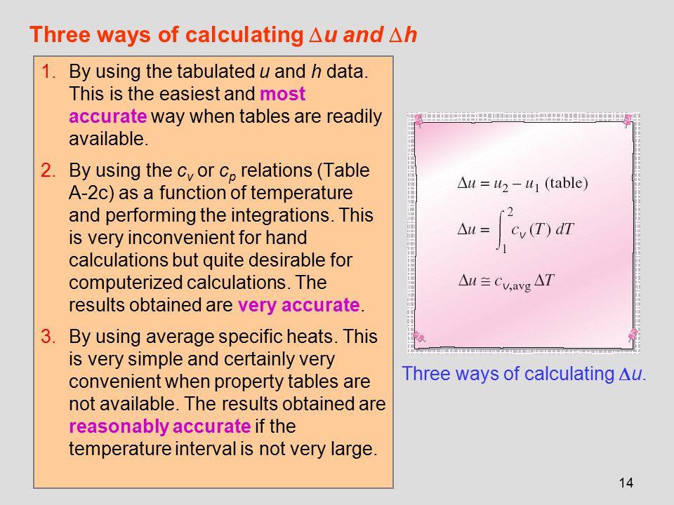 Three ways of calculating u and h