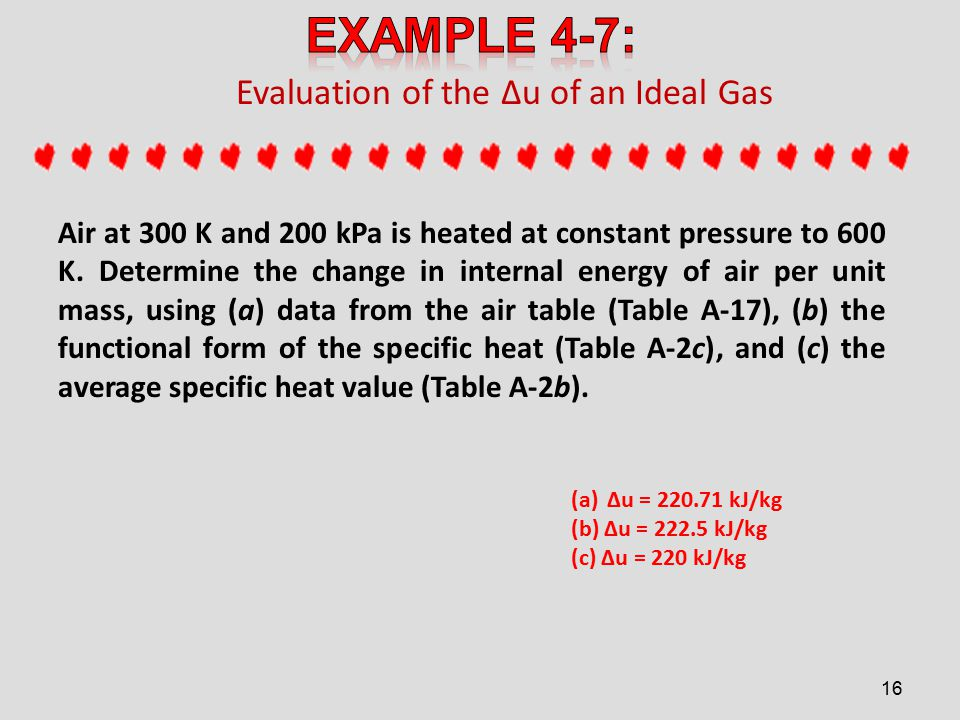 Evaluation of the ∆u of an Ideal Gas