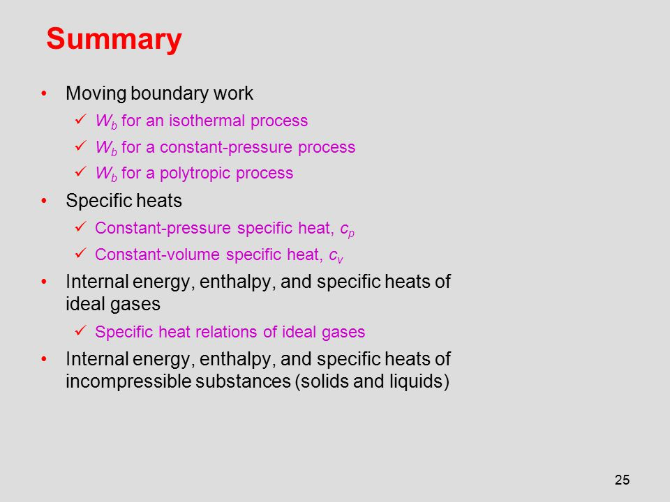 Summary Moving boundary work Specific heats