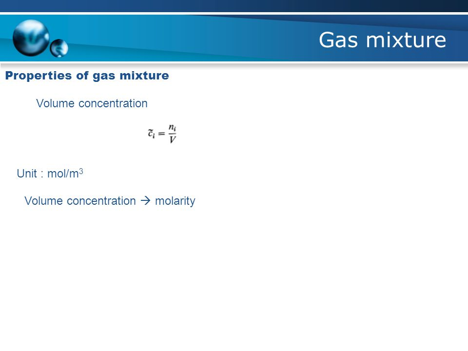Gas mixture Properties of gas mixture Volume concentration