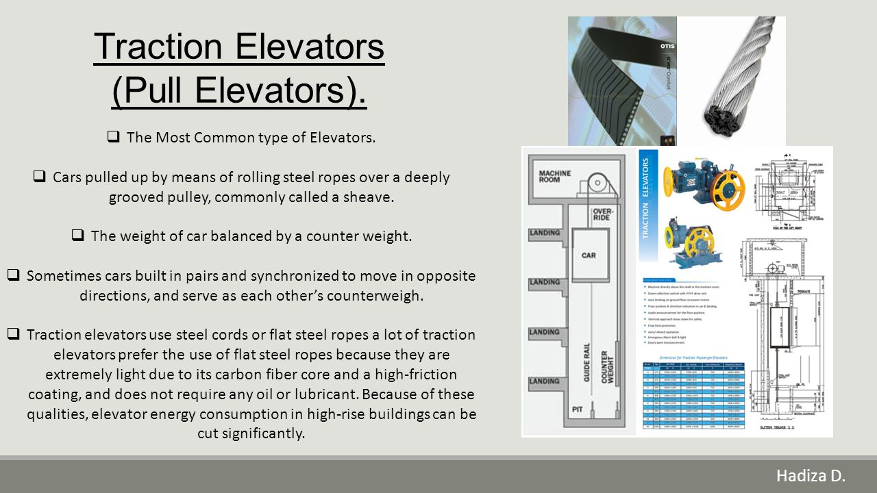 Traction Elevators (Pull Elevators).