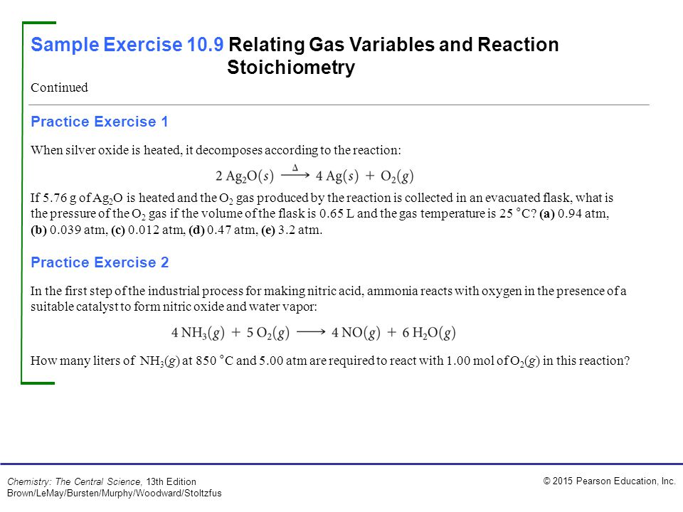 Sample Exercise 10.9 Relating Gas Variables and Reaction Stoichiometry