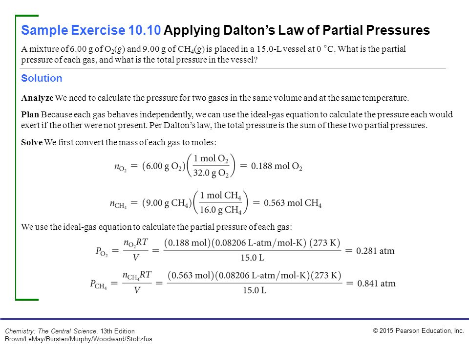 Sample Exercise 10.10 Applying Dalton's Law of Partial Pressures