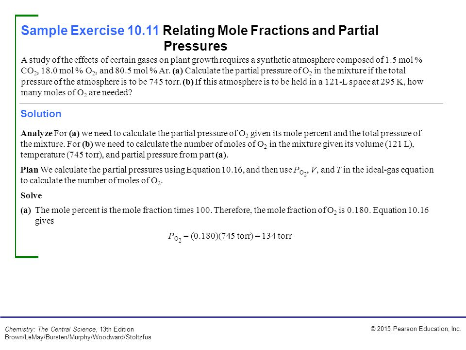 Sample Exercise 10.11 Relating Mole Fractions and Partial Pressures