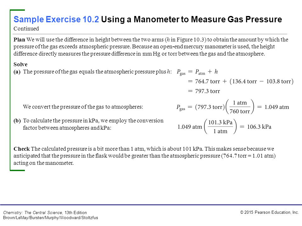Sample Exercise 10.2 Using a Manometer to Measure Gas Pressure