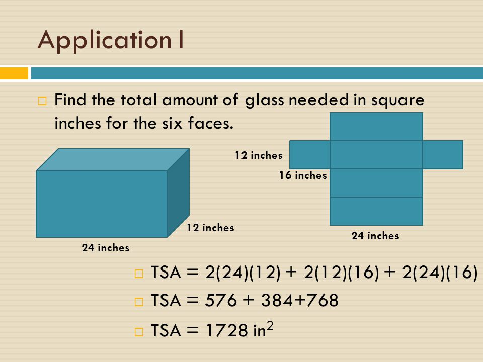 Application I Find the total amount of glass needed in square inches for the six faces. 12 inches.