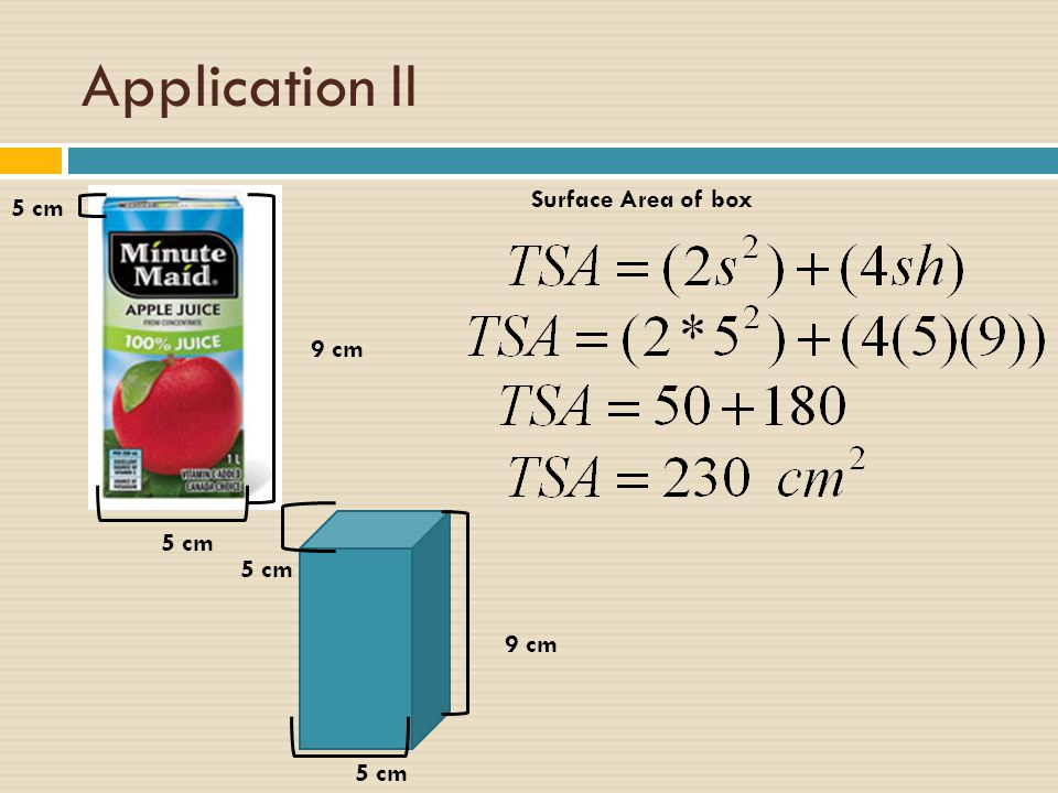 Application II Surface Area of box 5 cm 9 cm 5 cm 5 cm 9 cm 5 cm