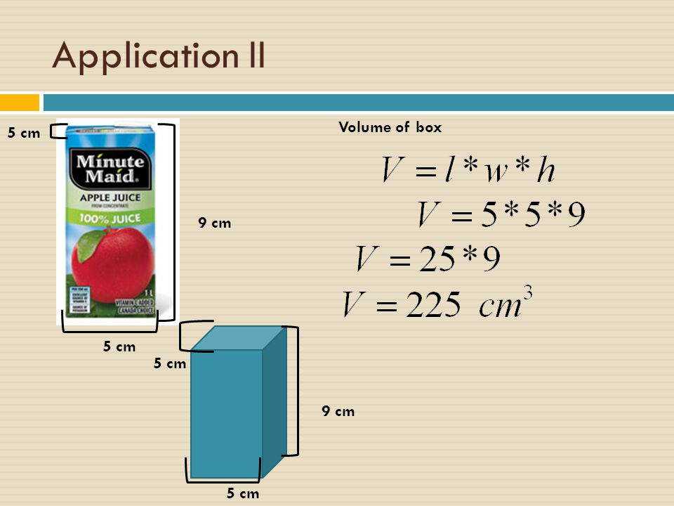 Application II Volume of box 5 cm 9 cm 5 cm 5 cm 9 cm 5 cm