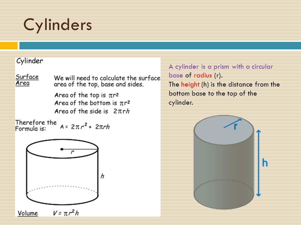 Cylinders A cylinder is a prism with a circular base of radius (r).
