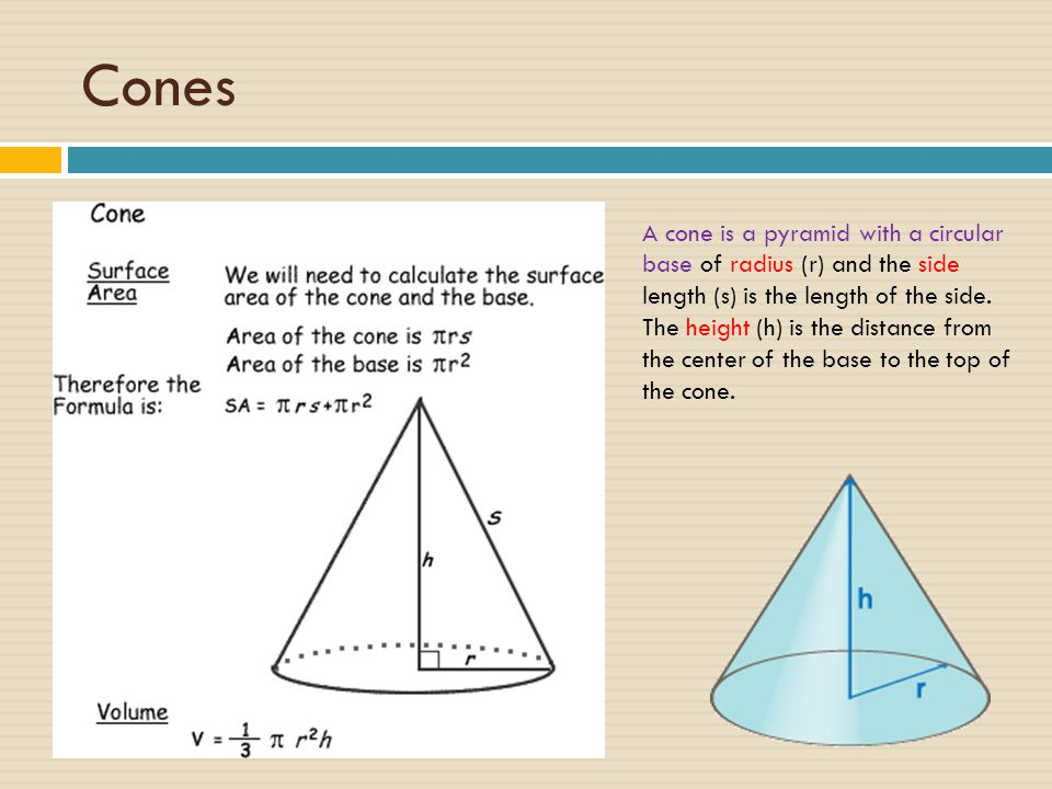 Cones A cone is a pyramid with a circular base of radius (r) and the side length (s) is the length of the side.