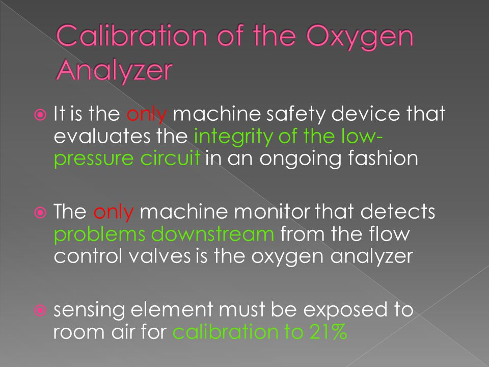 Calibration of the Oxygen Analyzer