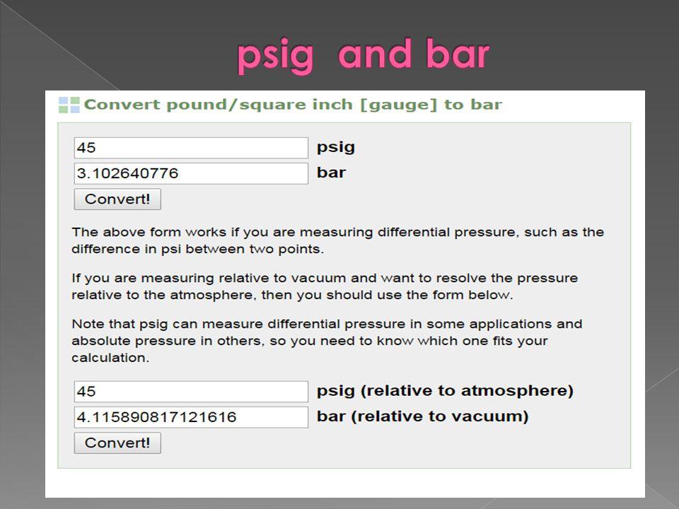 psig and bar