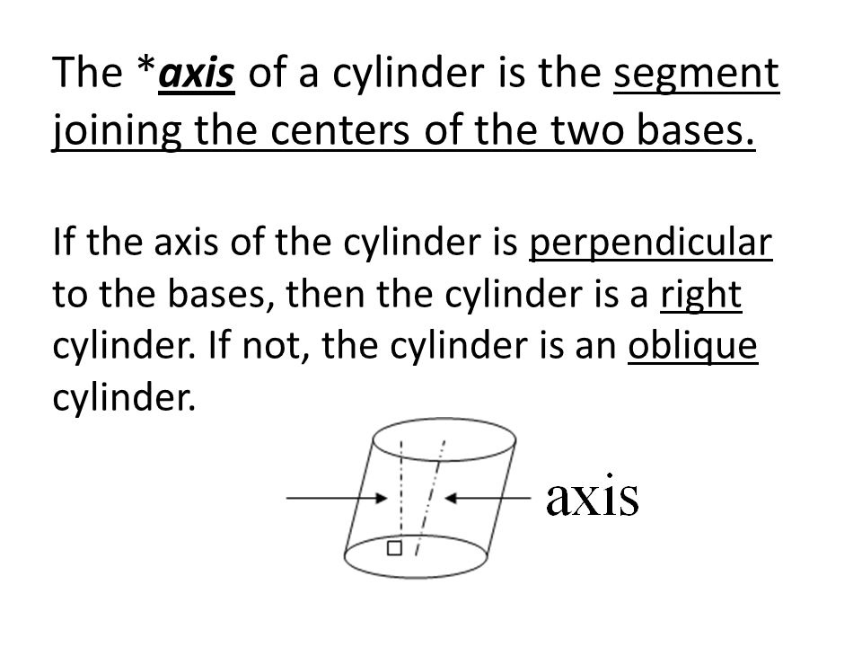 The *axis of a cylinder is the segment joining the centers of the two bases.