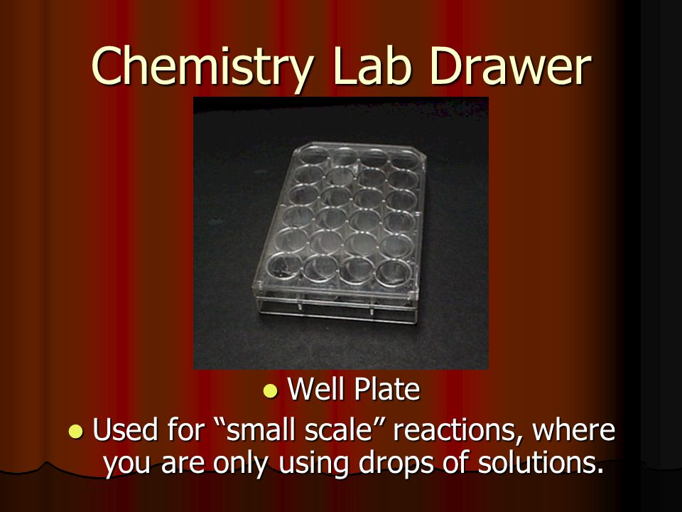 Chemistry Lab Drawer Well Plate